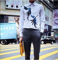 Camisa Masculina Sale Men Cardigan 2015 Spring New Fashion Trend Of Men's Parrot Pattern Printing Cotton Long-sleeved Shirt Slim