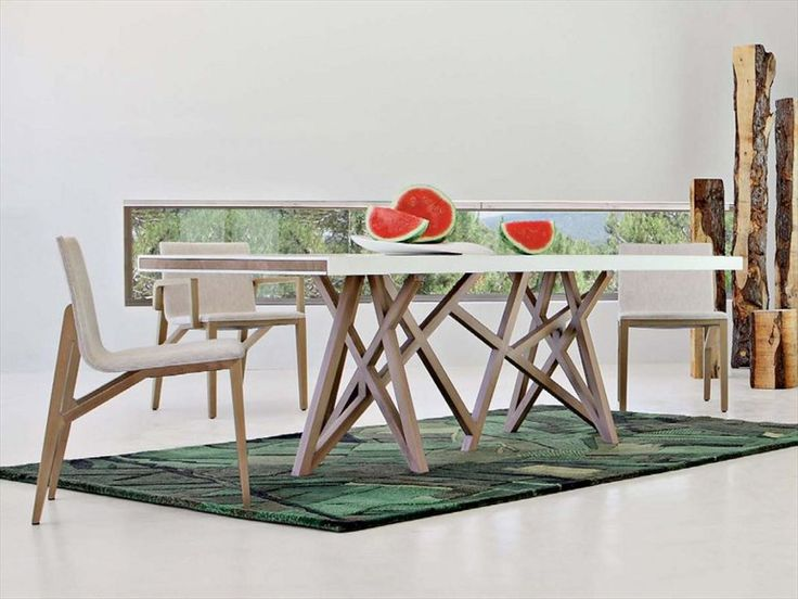 rectangular dining table saga les contemporaines. Black Bedroom Furniture Sets. Home Design Ideas