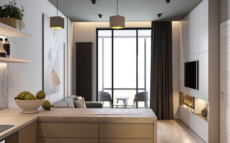 Modern living room shades of beige classy hanging box lights