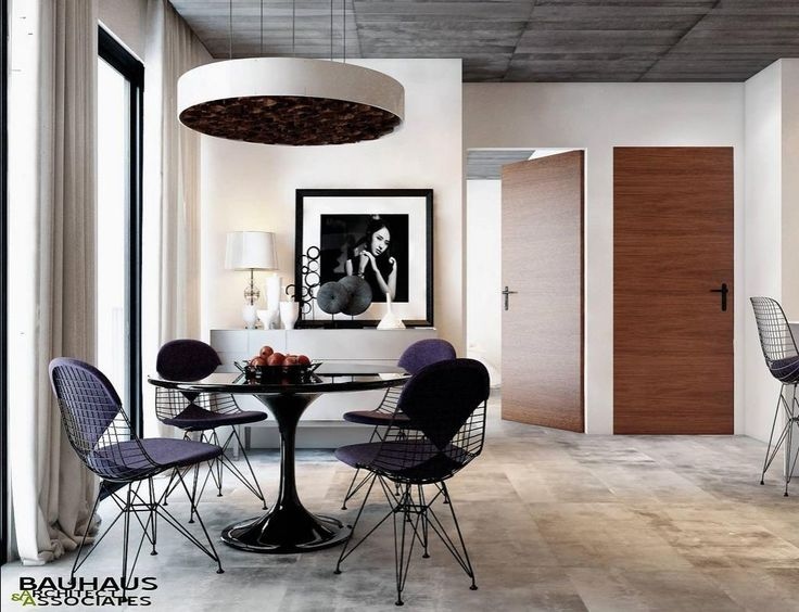 Bauhaus Interior Design #7 | Interior Ideas, Modern Design Of Dining Room With Black Dining Table Set Potrait Artwork White
