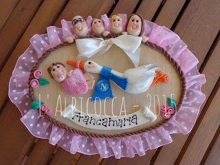Fiocco rosa per nascita... è arrivata la cicogna che tifa Napoli!!!! Hospital Door Hanger Announcement, It's a baby boy or girl to personalize nursery or child room.