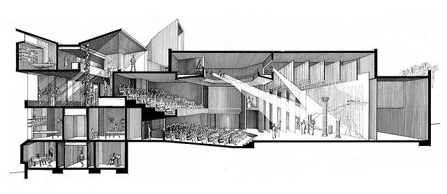 Paul Rudolph - Dana Arts Center - Rendered Section Perspective by kelviin, via Flickr