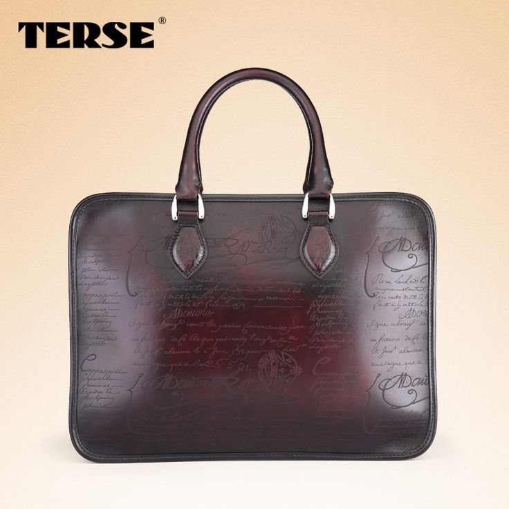 Find More Briefcases Information about 100% high quality genuine Italian  venezia Calligraphy script leather mens laptop bag casual fashion briefcase  similar ...