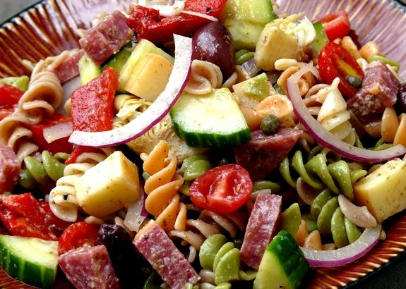 Antipasto Pasta Salad with Tangy Red Wine Vinaigrette from NoblePig.com