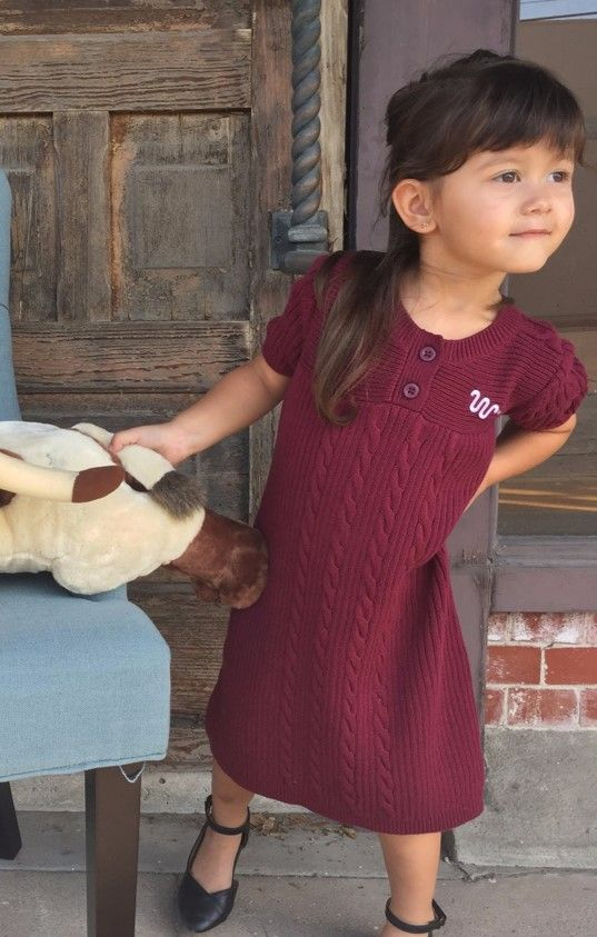 Girls maroon sweater dress with white Running W®. | King Ranch Saddle Shop