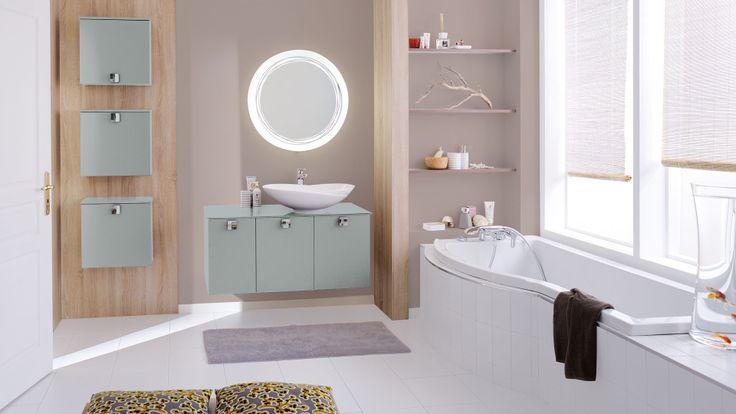 Salle de bains naima vert d 39 eau brillant cuisinella salle de bain - Salle de bain vert d eau ...