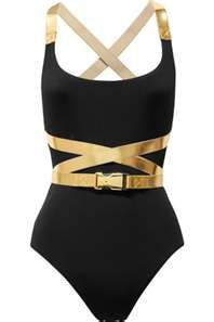 Michael Kors belted leather contrast swimsuit. Goodness!