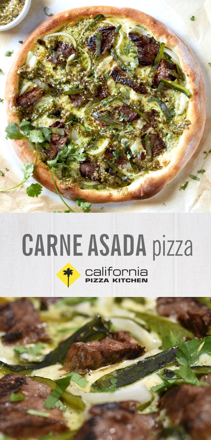 LIMITED TIME ONLY: You know it's National Pizza Month when we bring back the Carne Asada Pizza. Tastebuds, get ready for fire-roasted poblanos, Monterey Jack, cilantro pesto and hand-crafted salsa verde.