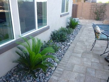 landscape river rock designs | ... , Indian Hawthorne, Smooth Agave w/ River Rock contemporary landscape