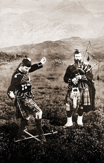 Celtic:  Scottish Highland Dance, Ghillie Callum. Cabinet card made by J. Valentine (1815-1879).