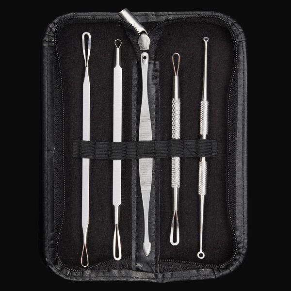 5Pcs Blackhead Acne Comedone Extractor Remover Multipurpose Stainless Steel Tool Set Kit