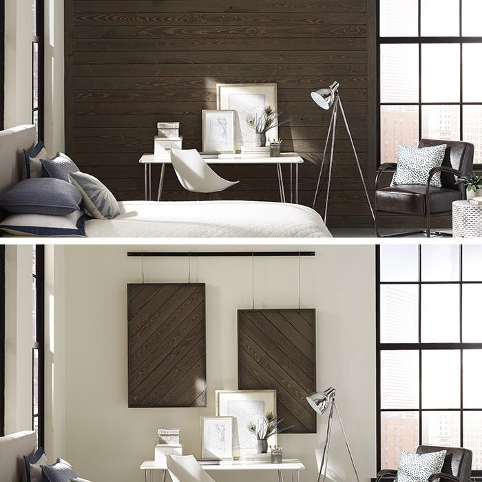 A Split Screen Image Of A Modern Bedroom: One With An Entire Accent Wall  Covered In Prefinished Barn Wood Millwork, The Other With Hanging  Dimensional Wall ... Nice Ideas
