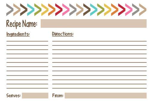 cute free printable recipe card 4 designs | Printable ...