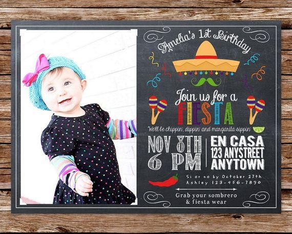 DIY Printable Chalkboard Fiesta, Cinco de Mayo Birthday Party Invitation with photo on Etsy, $16.00