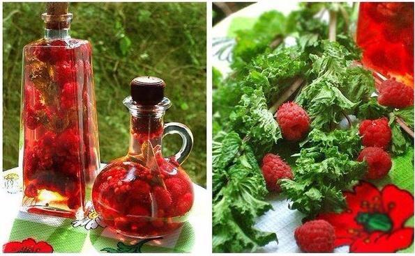 SOUND: http://www.ruspeach.com/en/news/12955/     Малиновый уксус используется в рецептах фруктовых и овощных салатов, а так же для мяса, рыбы, морепродуктов, блинов. Летом с ним готовят освежающие напитки и десерты. Малиновый уксус также эффективен при лечении ангины. Для его приготовления нужно залить 1 часть свежей малины двумя стаканами уксуса. Затем процедить и разлить по бутылочкам.    Crimson vinegar is used in recipes of fruit and vegetable salads, and also for meat,