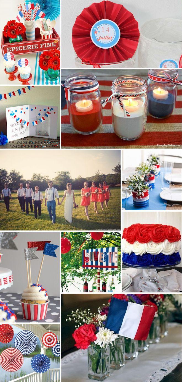 Se marier un 14 juillet ne veut pas justedire un tir d'artifice gratuit, cela donne aussi l'occasion de décliner un thème aux couleurs flamboyantes – bleu, blanc, rouge. Utilisez des fanions,éventails ou pompons pour ajouter des touches de couleurs lors de votre cérémonie et réception. Si vousêtes aventureuses, vous serez peut-être inspirées par les cupcakes …