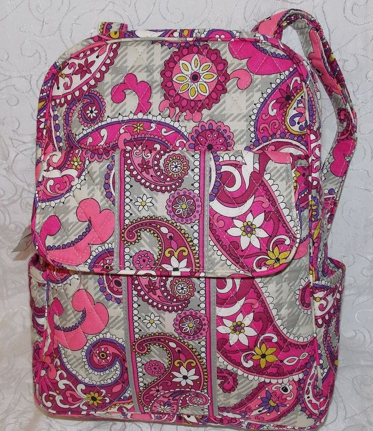 Vera Bradley Paisley Meets Plaid Petite Backpack Bag Free Shipping Great Gift in Backpacks & Bookbags | eBay