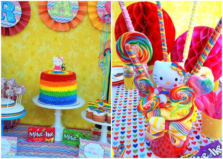 Rainbow hello kitty Candy centerpiece  Created by Audrey McKinley