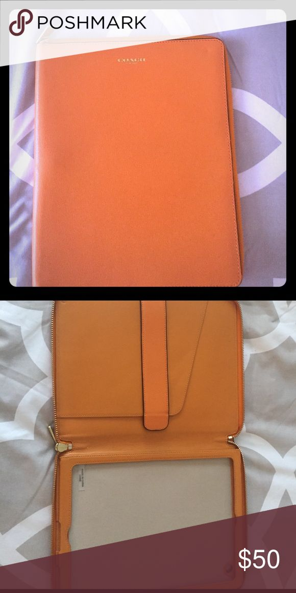 Coach large iPad case Beautiful tan coach iPad case only used once Coach Accessories Tablet Cases