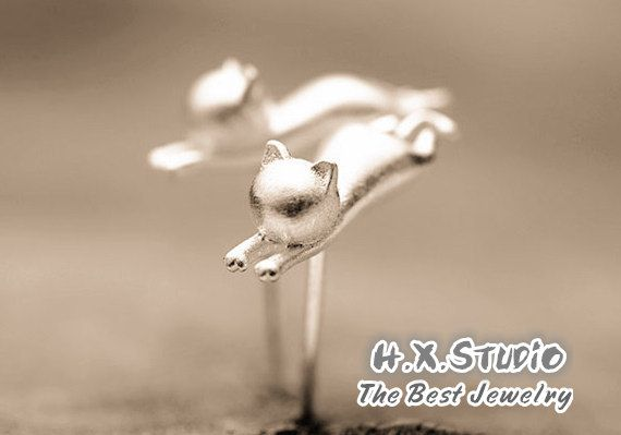 Lovely Cat Sterling Silver Earring, 925 Silver 3D Cat Ear Studs, Birthday, Bridal, Wedding, Teenage, Christmas, Valentine Gift, Wholesale