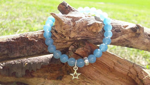 Aquamarine Beaded Bracelet with Sterling Silver Star Charm