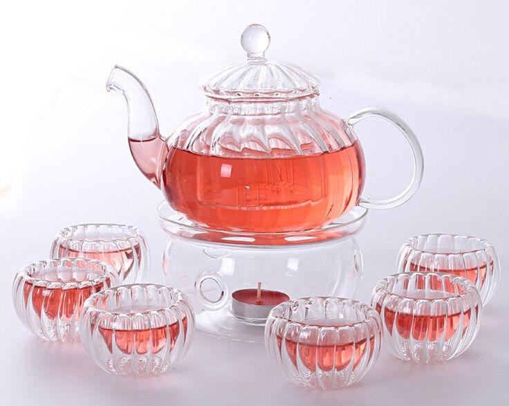 カボチャホウケイ酸ガラスティーポットセット注入器ティーポット+ウォーマー+ 6茶カップ