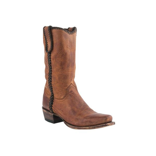 Men's Lucchese Bootmaker M2601 Squared Off Toe Cowboy Heel Laced Boot ($359) ❤ liked on Polyvore featuring men's fashion, men's shoes, men's boots, brown, cowboy boots, mens western boots, mens square toe western boots, mens shoes, mens moccasins and mens brown leather boots