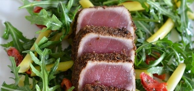 Tuna with a Spicy Crust and Tomato Butter Bean Salad