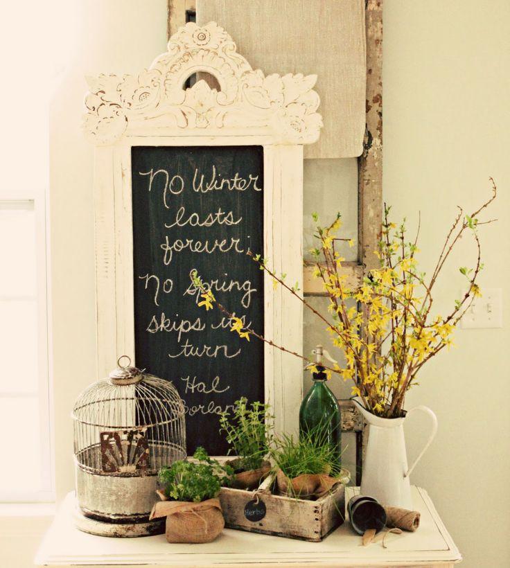 Spring Decor!: Chalkboards, Shabby Chic, Decorating Ideas, Spring Decor, Winter Lasts, Chalk Board, Vignette, Shabbychic
