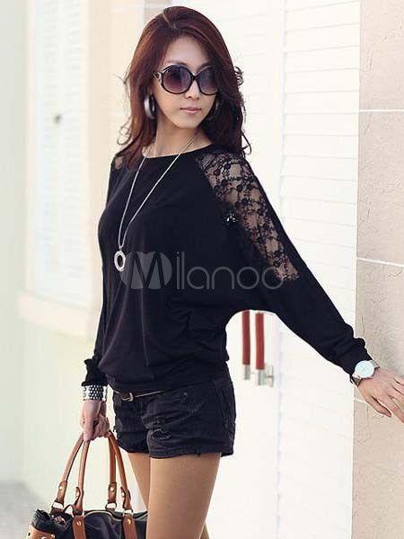 Charmante blouse féminine en coton infroissable avec dentelle manches chauve-souris - Milanoo.com