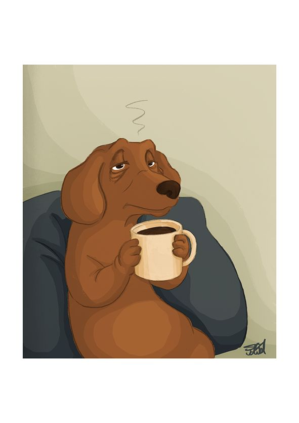 Monday, coffee day  Dachshund sipping his coffee  Illustration by S.K.Y. van der Wel