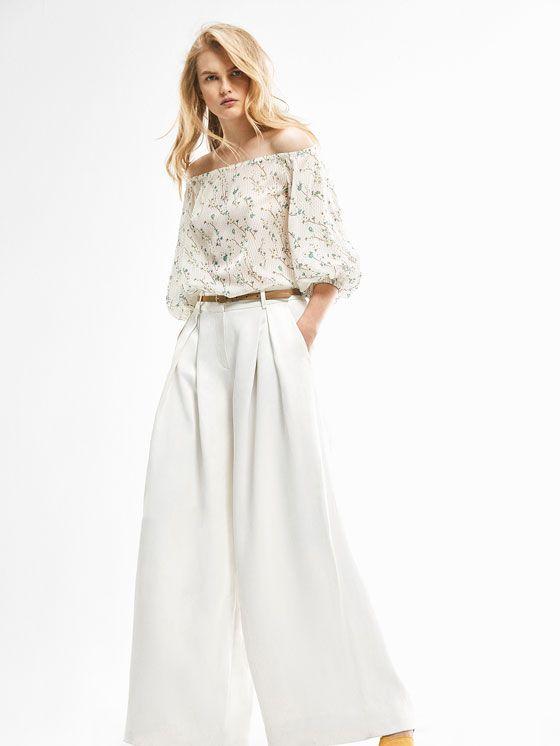 LIMITED EDITION WHITE WIDE-LEG TROUSERS de WOMEN - Limited Edition de Massimo Dutti de Otoño Invierno 2016 por 79.95. ¡Elegancia natural!