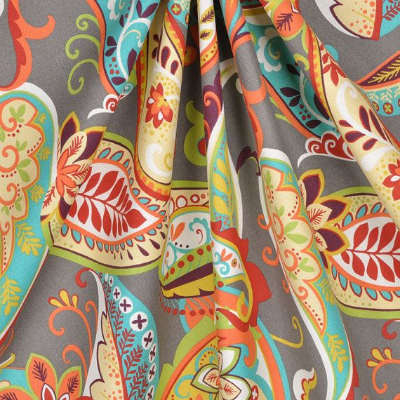 Curtain Panels Paisley Whimsy Grey Turquoise Orange By HomeLiving