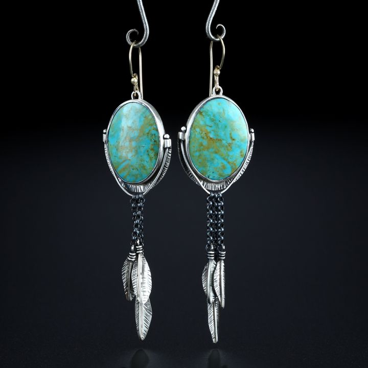Patagonia Turquoise Earrings. Fabricated Sterling Silver and 14k Gold. www.amybuettner.com https://www.facebook.com/pages/Metalsmiths-Amy-Buettner-Tucker-Glasow/101876779907812?ref=hl https://www.etsy.com/people/amybuettner http://instagram.com/amybuettnertuckerglasow
