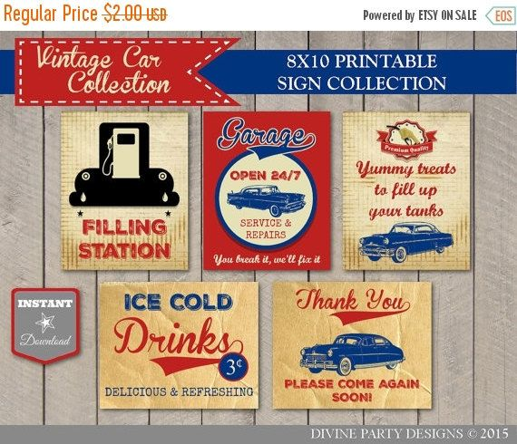 SALE INSTANT DOWNLOAD Vintage Car Birthday Party Sign Package / Printable 8x10 / Vintage Car Collection / Item