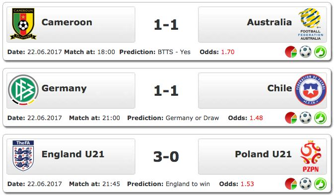#DailyTreble 22.06.2016 - WORLD: FIFA Confederations Cup, Euro U21 http://www.ukbettips.co.uk/todays-bet-tips.html
