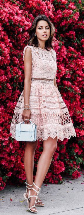 #spring #outfits Blush Pink Lace Dress + White Studded Sandals