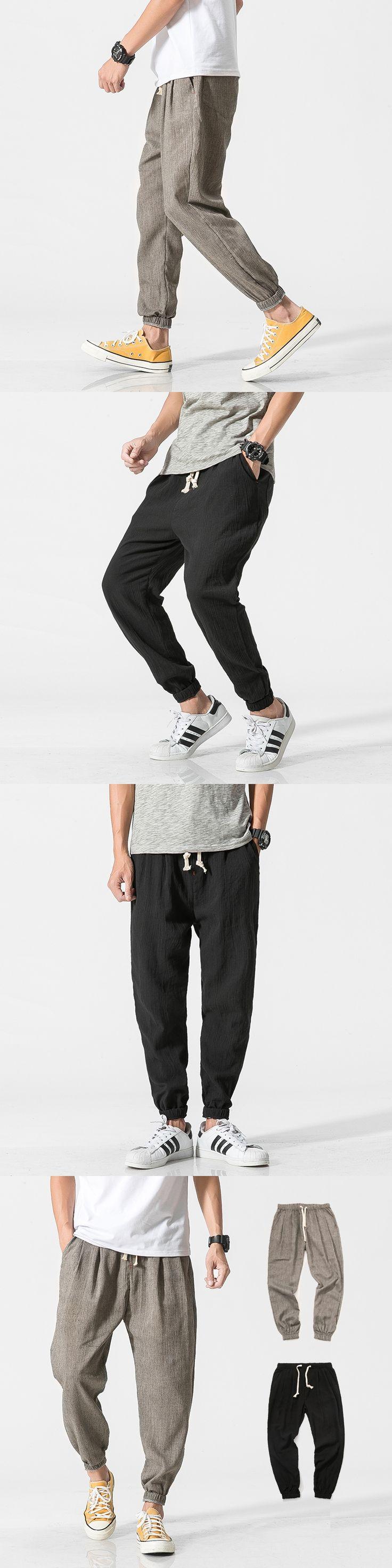 2017 NEW Men linen pants Comfortable Male trousers jogger pants casual straight pants plus size M-5XL black and grey