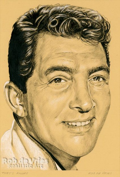 """May 2017, Dean Martin """"That's amore"""", Charcoal, ink and white chalk on colored paper.  21 x 15 cm."""