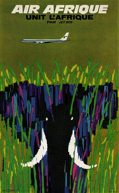 Jacques Auriac Illustration Poster for Air Afrique airline. Artist, Jacques Auriac. From Graphis Annual 65/66. Blogged at Aqua-Velvet.