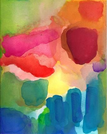 A New Day. Art Print of Original Watercolor by soveryhappyart #colorful #abstract #art