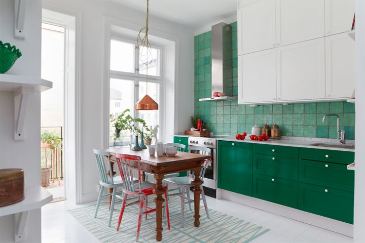 handcrafted green tiles from Italy