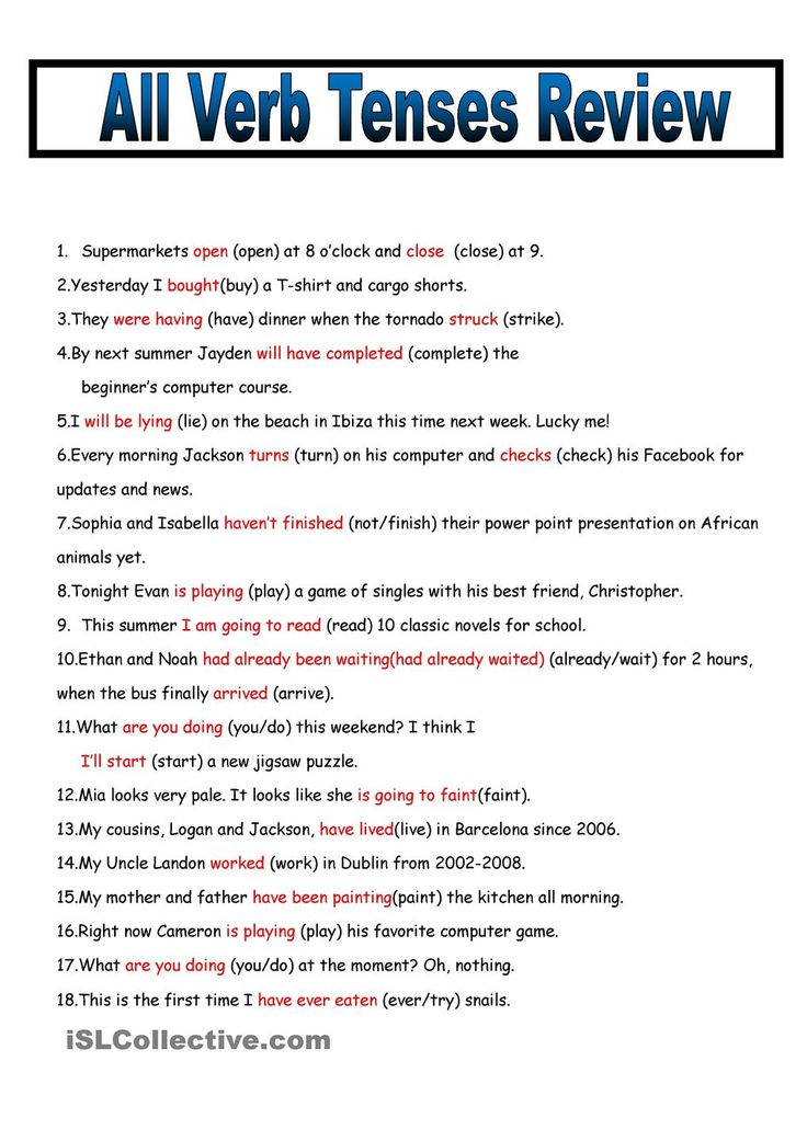 Present Tense Subject and Verb Agreement Rules and Exercises