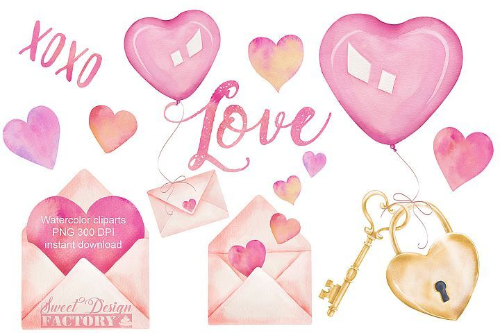 Valentine S Day Watercolor Clipart 409081 Illustrations Design Bundles In 2021 Valentines Day Clipart Valentine Clipart Valentines Watercolor