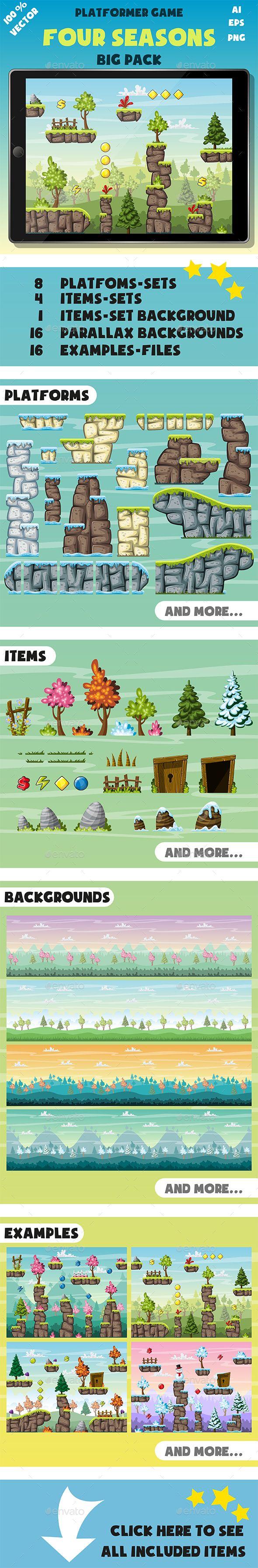 Platformer Game Pack: Four Seasons - Tilesets Game Assets