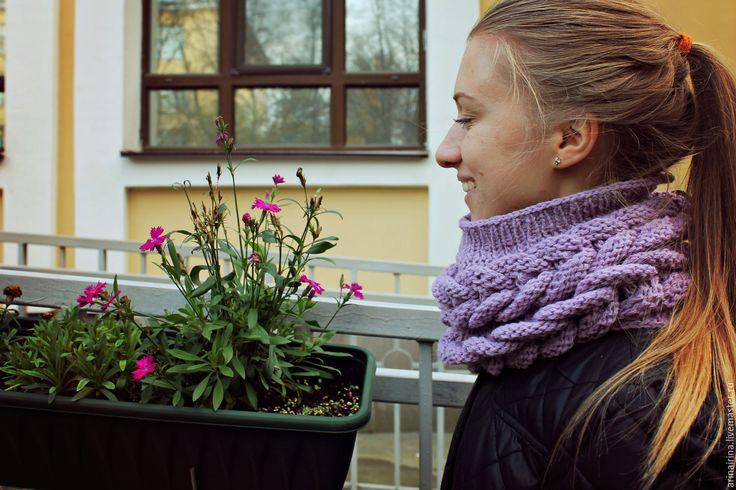 Купить Вязаный шарф-хомут, шарф-снуд, шарф-труба. - сиреневый, однотонный, фиолетовый, вязаный