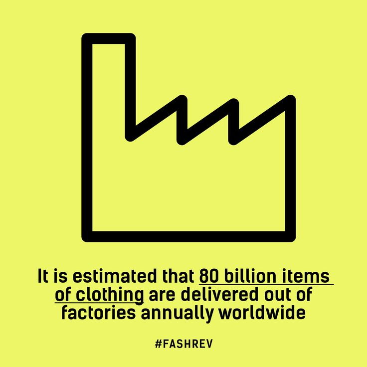 It is estimated that 80 billion items of clothing are delivered out of factories annually worldwide. #FashRev #fashion #factory #infographic #fact
