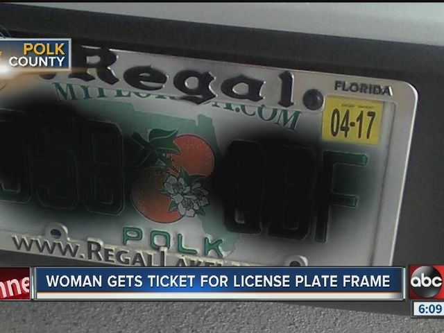 Lakeland woman receives ticket for license plate frame covering part of 'MyFlorida.com' - http://www.abcactionnews.com/news/region-polk/lakeland/lakeland-woman-receives-ticket-for-license-plate-frame-covering-part-of-myfloridacom