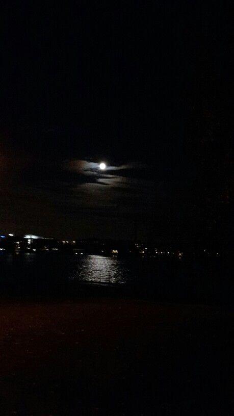 Full moon over Pyhäjärvi  lake at Tampere Finland.