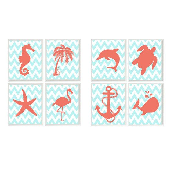 Beach Nautical Art Prints - Aqua Coral - CHOOSE 4 prints - Seahorse Palm Tree Anchor Flamingo Whale Wall Art Home Decor Set 4 8x10 on Etsy, $50.00